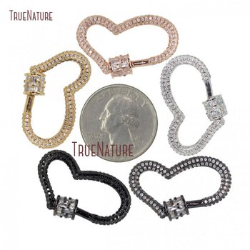 Full Paved Rose Gold Silver Gunmetal Heart Clasp CZ Micro Pave Screw Clasp Lock Carabiner Pave Lock 31mmx19mm FC28004
