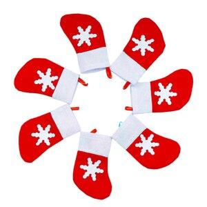 Image 4 - Держатель для столовой посуды в виде кармана, Рождественское украшение, праздничные украшения в виде снеговика, Санта, эльфа, оленя, бесплатная доставка