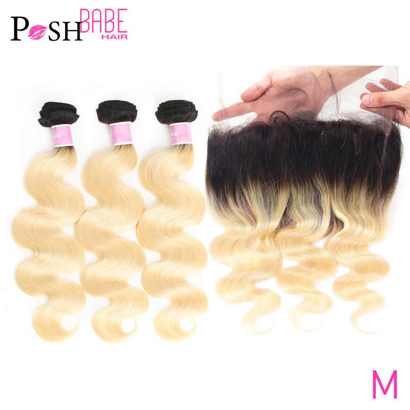 Ombre extensões de cabelo humano brazillian corpo onda cabelo pacote com 360 fechamento frontal 1b 613 loira cor 3 4 pacote e fechamento