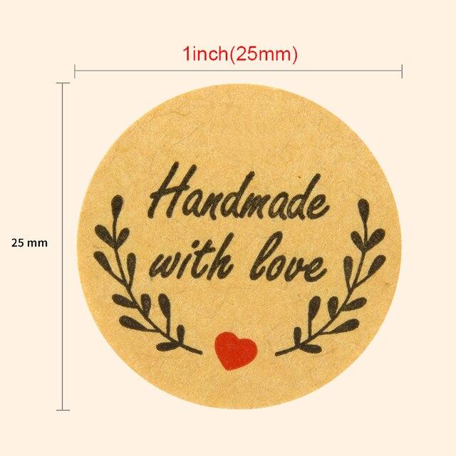 500 Handmade With Love Stickers Scrapbooking Hand Made Handmade Label Wedding Stickers Adhesive Sticker Kraft Round Labels 2