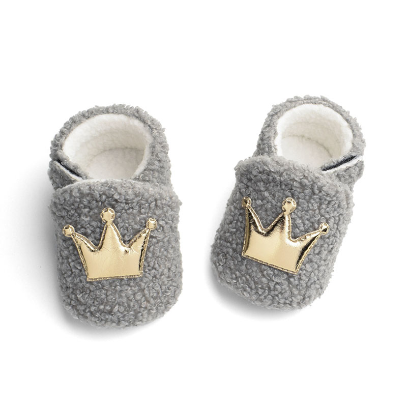 Cute Crown Baby Shoes Coral Fleece Newborn Baby Girl Boy Shoes Warm Winter Soft Sole Toddler Infant Shoes First Walkers