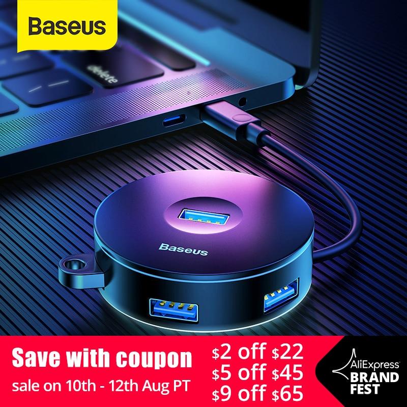 Baseus USB HUB USB 3.0 USB C HUB for MacBook Pro Surface USB Type C HUB USB 2.0 Adapter with Micro USB for Computer USB Splitter(China)