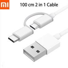Оригинальный кабель Xiaomi 2 в 1 кабель Micro USB Type C кабель для быстрой зарядки и синхронизации данных 100 см для Mi CC9 9 Pro 9T 8 6 Redmi Note 7 8 Pro