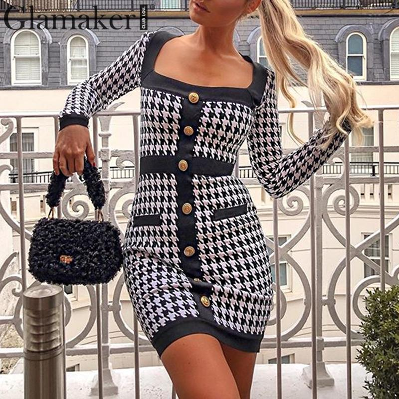 Glamaker Black Plaid Buttons Office Wear Dress Women Long Sleeve Warm Autumn Dress Sexy Bodycon Party Club Elegant Short Dress