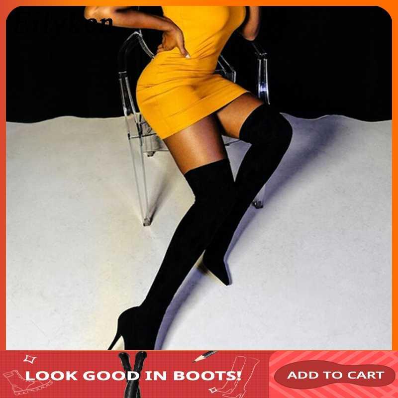 Eilyken/2019 г. Модная подиумная стелька из эластичной ткани, сапоги женские сапоги выше колена с острым носком, с острым носком размер 35-42
