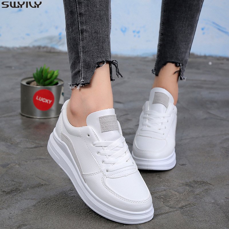 SWYIVY Chunky Sneakers Women Casual Shoes Flat PU New Spring 2020 Fashion White Sneakers For Women Solid Comfortable Ladies Shoe