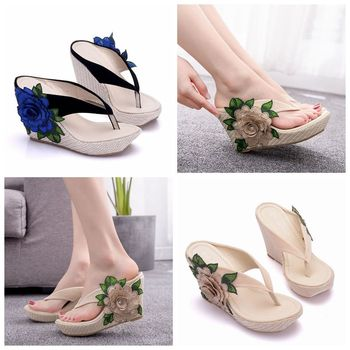 Crystal Queen Woman Slippers Lady Home Slippers Casual Beach Flip Flops Sandals Women Sandals Summer Sexy High Heel Slippers