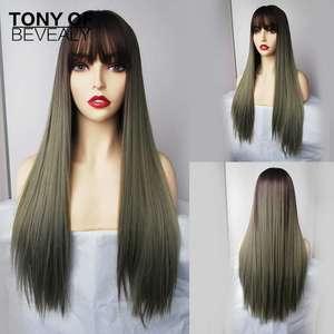 Image 1 - Bangs와 긴 스트레이트 합성 가발 Ombre 갈색 녹색 자연 머리 가발 여성을위한 코스프레 가발 내열성 섬유 가발