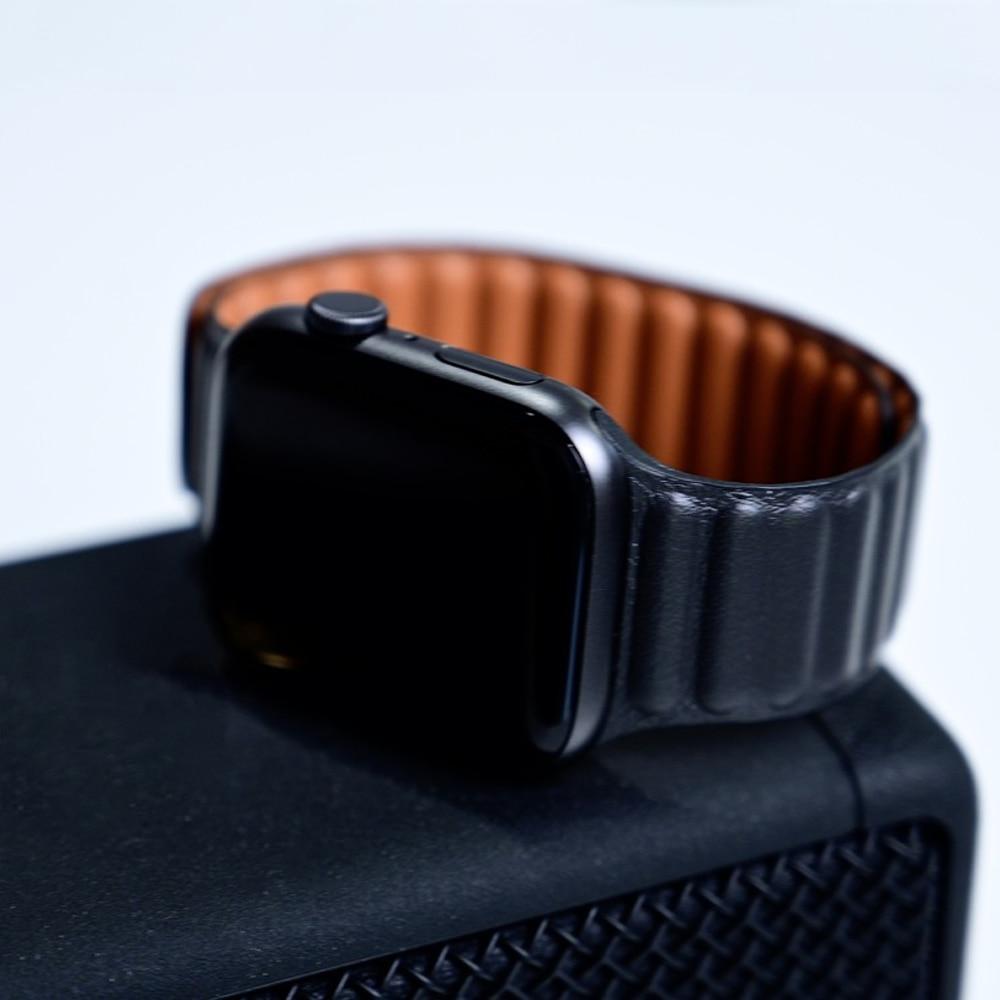 Leather Link strap For Apple watch band 44mm 40mm 38mm 42mm watchabnd original Magnetic Loop bracelet iWatch seires 3 5 4 6 SE 4