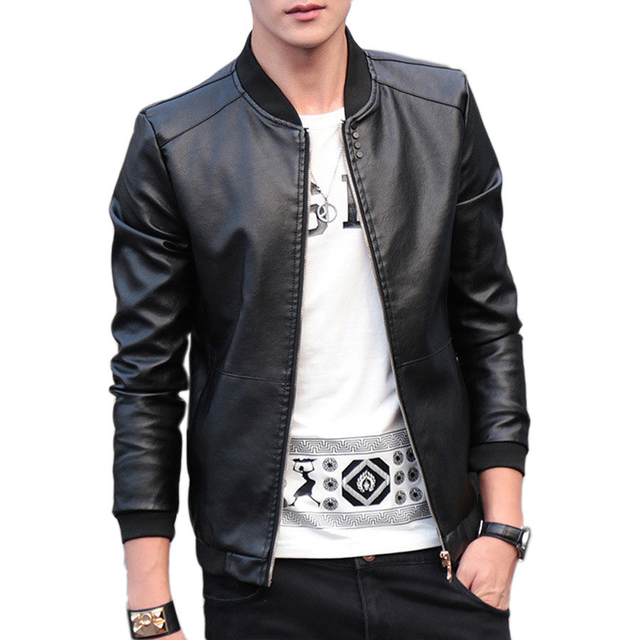 2019 Autumn Winter Mens Leather Coat Korean Slim Fit Leather Jackets Size M 4XL Fashion Casual Outwear for Man Jacket