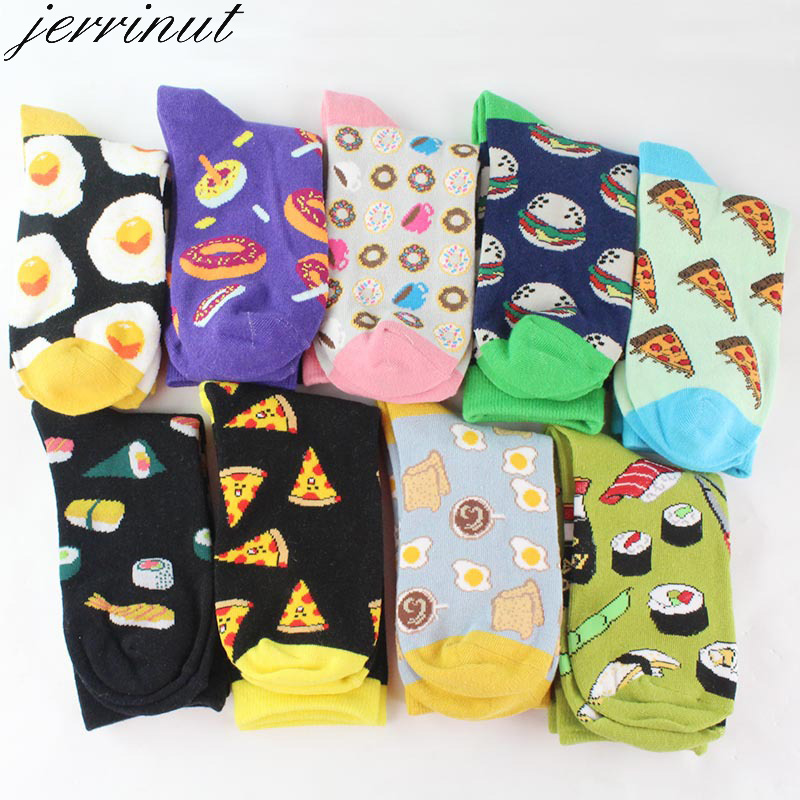 1 Pair Women Funny Socks With Print Art Cute Socks Warm Winter Happy Socks With Avocado Food Harajuku Cotton Casual Sock Fashion
