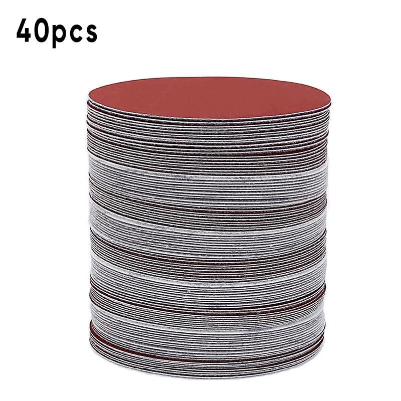 Metal Sanding Disc Polisher Hook Loop 40pcs Pads 150mm 400-2000 Grit Polishing Grinding Wood