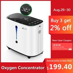 Pelvifine مُكثّف أوكسجين 1-6L/دقيقة قابل للتعديل المحمولة الأكسجين آلة المنزل السفر استخدام oxigeno ميديكو AC110-220V مرطبات