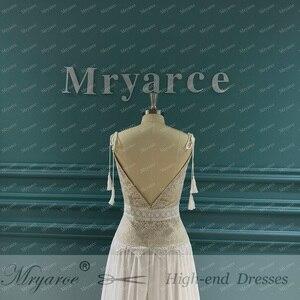 Image 4 - Mryarce 2020 New Boho Wedding Dress Spaghetti Straps Lace Chiffon Bridal Gowns