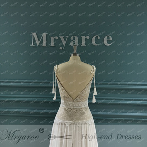 Image 4 - Mryarce 2020 nowy boho weselny sukienka paski spaghetti koronki szyfonu suknie ślubne