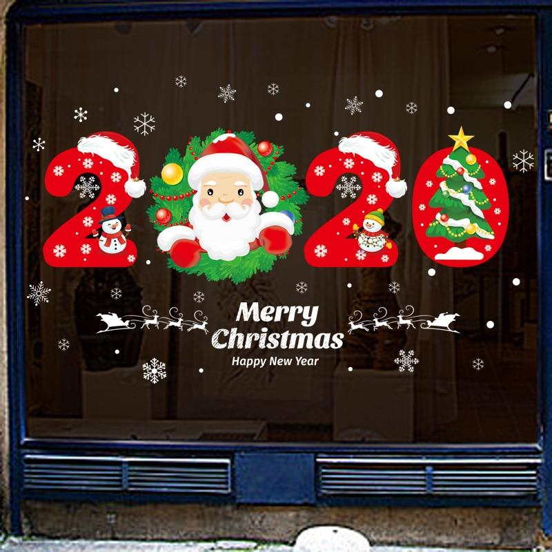 Съемные рождественские новогодние витринные наклейки Санта-Клаус Рождественская елка Лось Снежинка рождественские украшения для домашне...