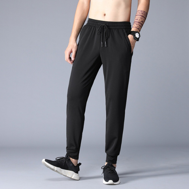 Summer Thin Section Silky Mesh Quick-Dry Casual Sports Pants Men Air Conditioner Hollow Out Viscose Loose-Fit Breathable Summer