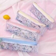 2019 new fashion student school cute transparent stationery triangle pencil case bag kawaii