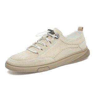 Image 2 - Zapatos de ante para hombre, zapatillas de deporte de cuero, calzado de ocio para caminar, CLAXNEO banda elástica, novedad primavera otoño 2020