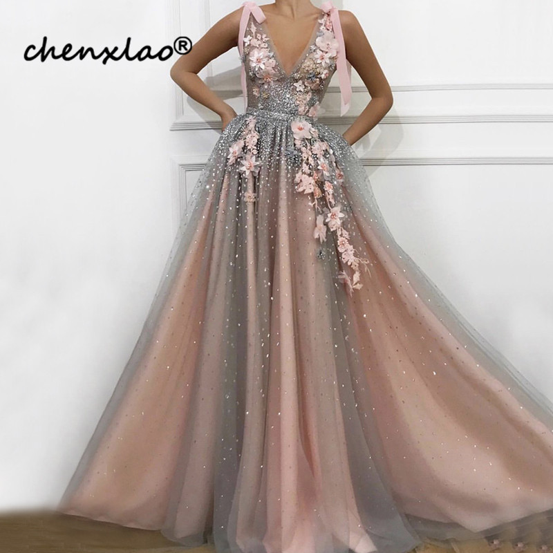 Pink V-Neck Diamond Pearls Sexy Evening Dresses Handmade Flowers Sleeveless Tulle Evening Gowns 2019