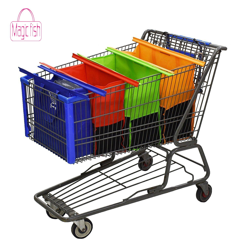 Magic Fish Hot Sale 4PCS/Set Shopping Cart Trolley Bags Foldable Reusable Grocery Shopping Bag Eco Supermarket Bag Bolsas(China)