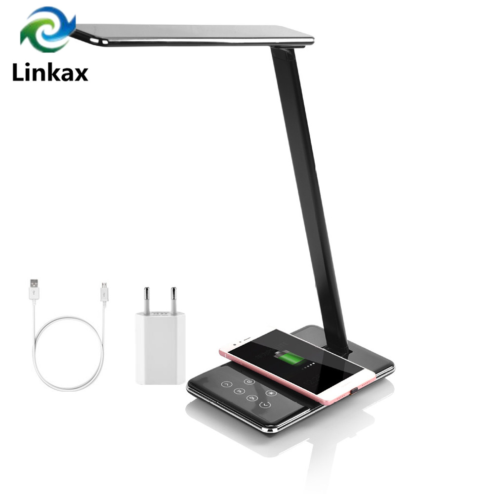 New Dimmable Touch Timer LED Table Desk Lamp QI Wireless Charging Eye Protection Multi Function Reading Light For Phone charge|Desk Lamps| |  - title=