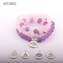 Fashion Design Howlite Natural Stone Bracelet 108 Beads Wrap Pink And Purple
