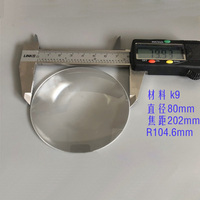 80mm Large K9 Optical Glass Aspherical Focal Length 202mm LED Plano Convex Plano Convex Aspheric Magnifying Glass Lenses