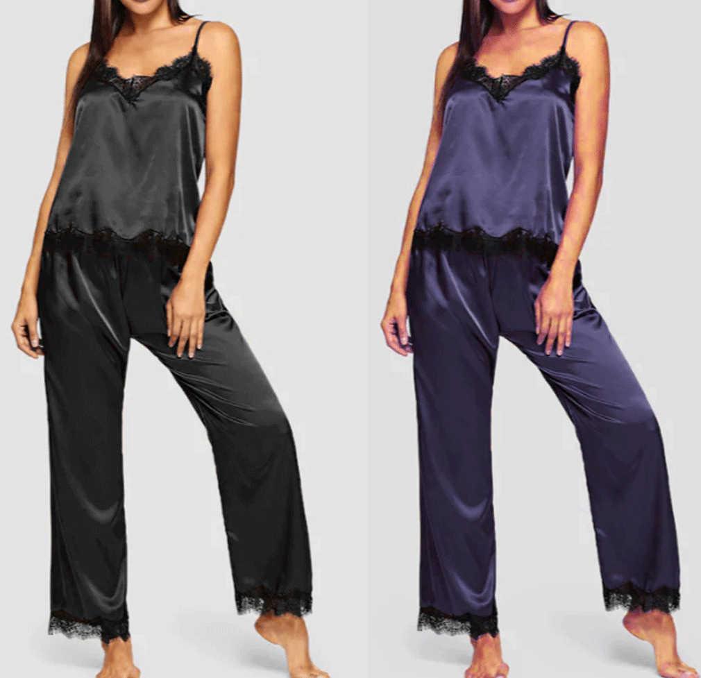 חדש אלגנטי אופנה נשים ליידי משי סאטן מזדמן הלבשת Babydoll סקסי הלבשה תחתונה נשים Nightwear ארוך פיג סט