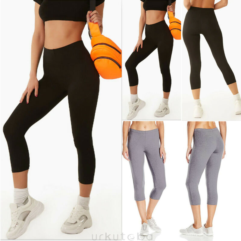 Goocheer Women Leggings Fitness Sports 3/4 Length Trousers Athletic Pants Workout Stretch Capris Pants Trousers Mujer Leggin