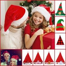 Children Hat Baby Adult Kid Xmas Up-Cap Christmas-Hat Snowman Elk Led-Light Santa-Claus