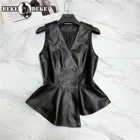 Designer OL 100% Genuine Leather Vest Women Slim Double Breasted Short Waistcoat V Neck Party Lady Sheepskin Sleeveless Jacket