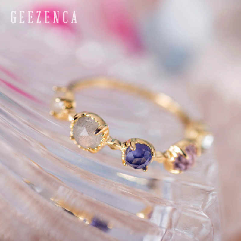 925 Sterling Silver Colour Gemstone Topaz Amethyst 18K Gold Handmade Craft Ring Women Fine Jewelry Luxury Trendy Ring Party