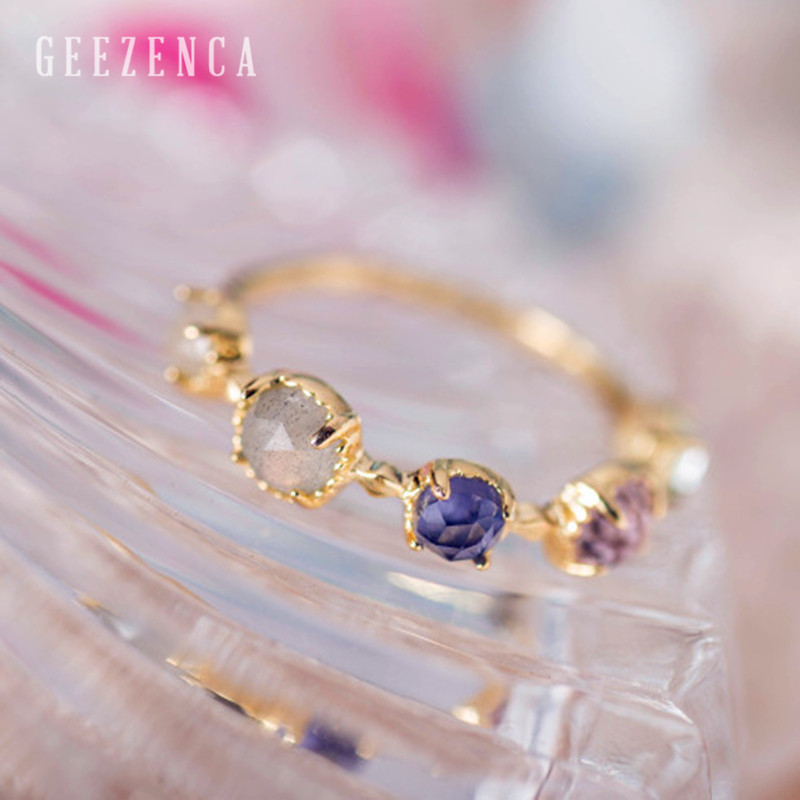925 Sterling Silver Gold Plated Color Gemstone Topaz Amethyst  Handmade Craft Ring Women Fine Jewelry Luxury Trendy Ring Party