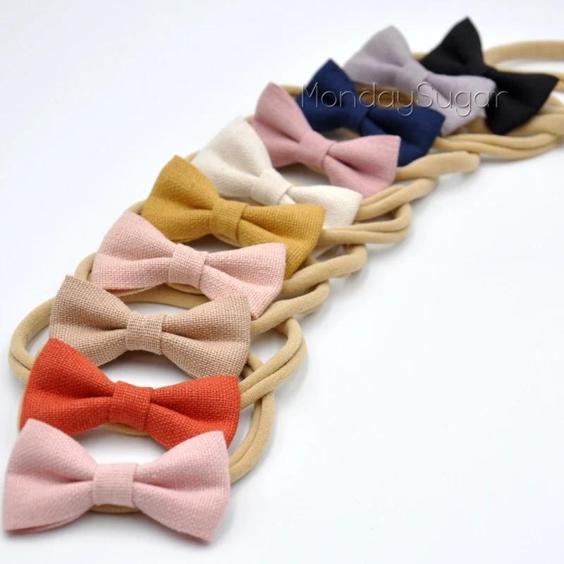 Linen Bow Infant Headband Bow Mini Petite Baby Bow for Girls Petite Baby Hair Bow Linen Petite Knot Bow LATTE