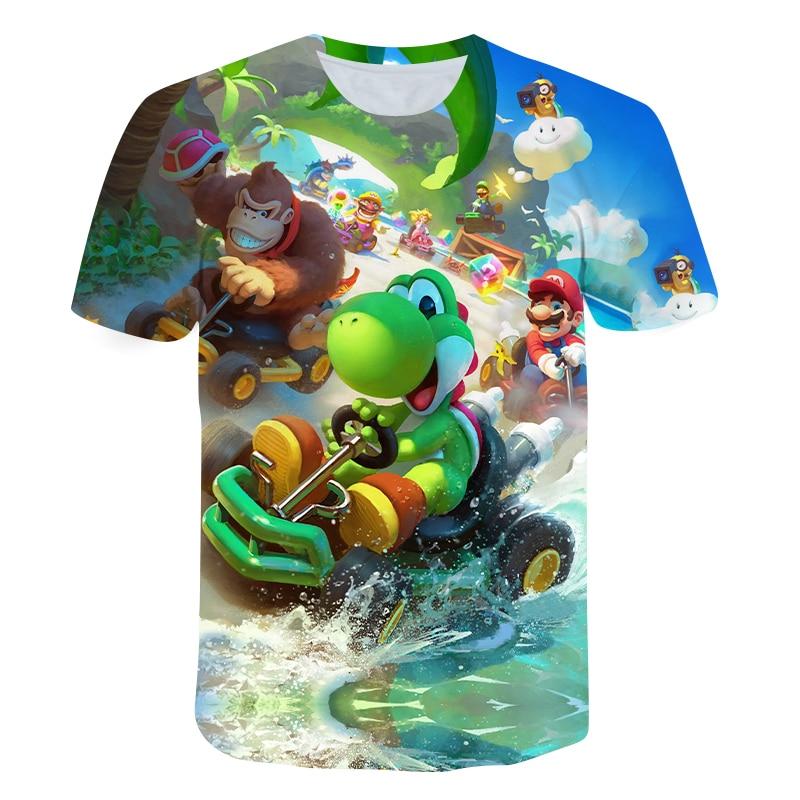 Summer Children Short Sleeve T-Shirts Kids Cartoon 3D Super Mario Print Boys Girl Tops Tee Mario Brother T Shirts Baby Boys