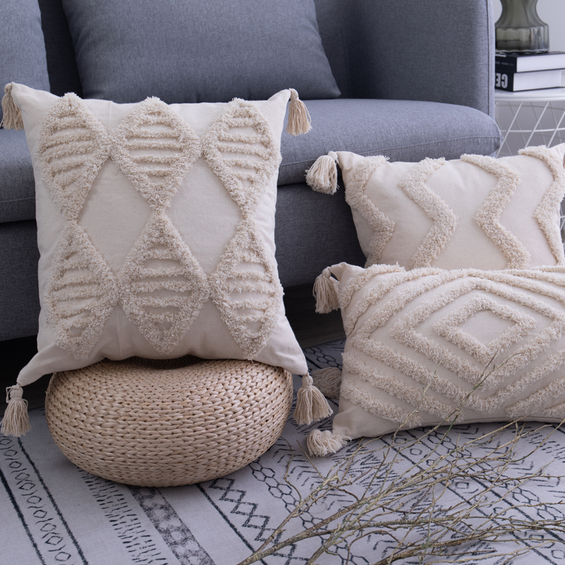 Tassels Cushion Cover 45x 45cm/30x50cm Beige Pillow Cover  Handmade Square Home Decoration For Living Room Bed Room Zip Open