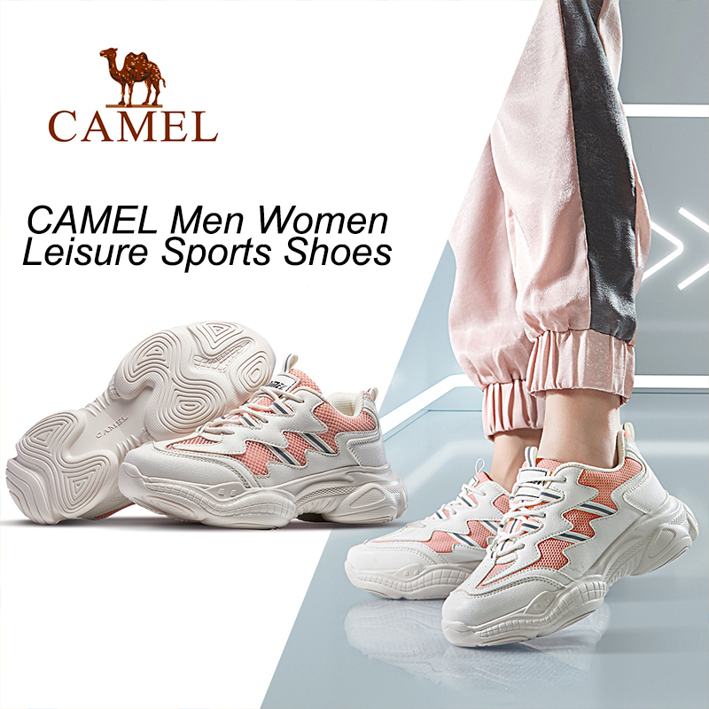 CAMEL Walking Platform Shoes Sneaker Fashion Women Men Outdoor Breathable Shockproof Stability Couple Casual Sports Shoes