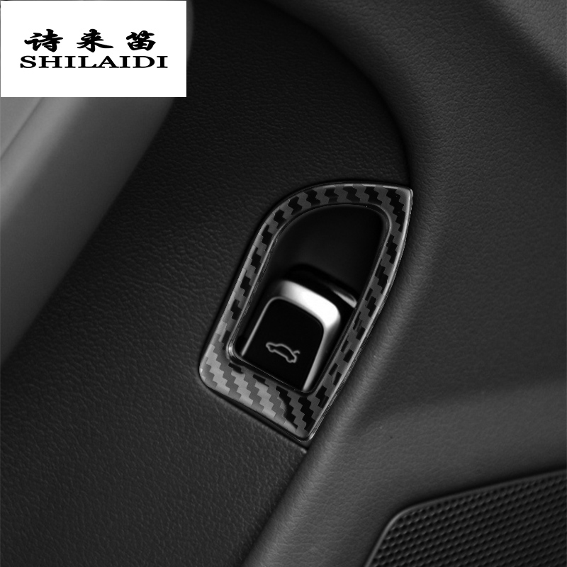 For Audi A4 B8 A5 Q5 2009-16 Carbon Fiber Rear Trunk Switch Button Sticker Trim