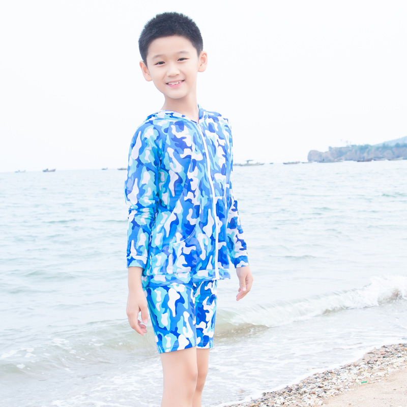 Manufacturers Direct Selling Sanqi KID'S Swimwear BOY'S Long-sleeved Coat Swimming Trunks Set Big Boy Parent And Child Hot Sprin