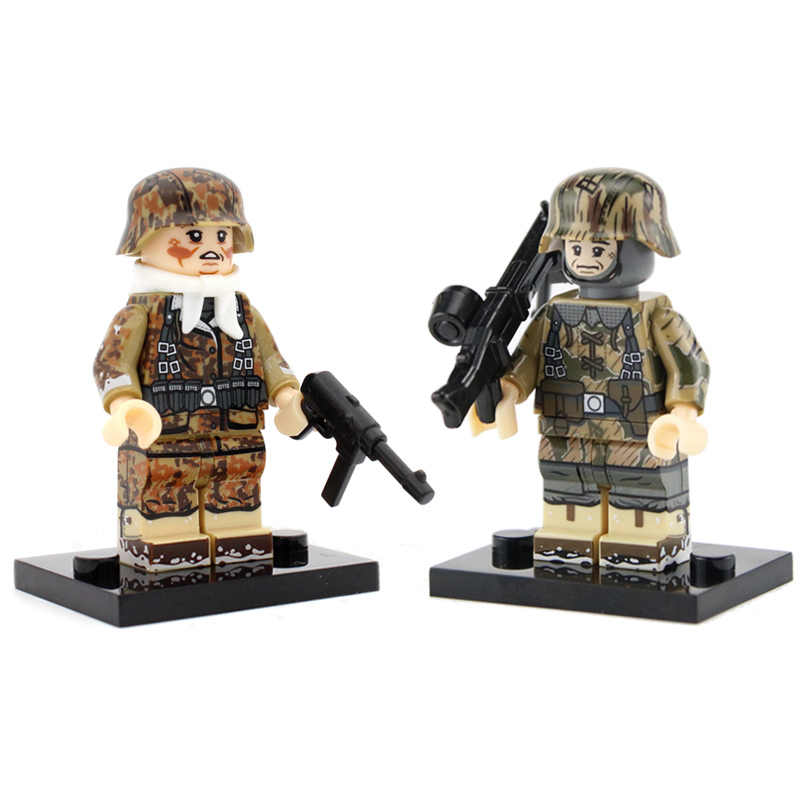 WW2 Military German Army Figures Building Blocks German Army Paratroopers Soldier Weapon Helmet scarf Accessories Bricks Toys