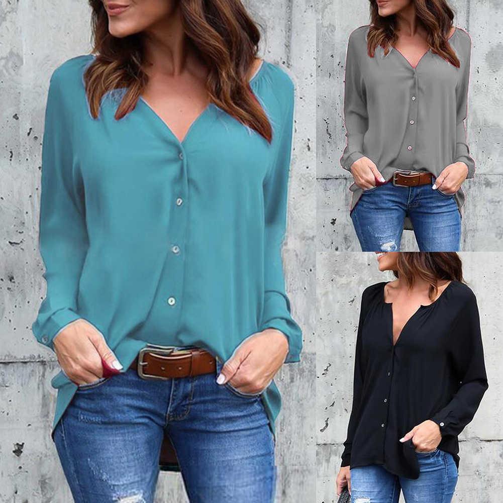 Jednolity kolor plisowana V Neck przyciski koszula z długim rękawem kobiety szyfonowa bluzka Top