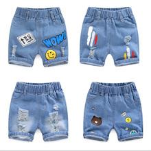 Lato 2020 nowe ubrania dla dzieci dżinsy dla dziecka kreskówki mody spodenki jeansowe kreskówki dżinsy z otworami chłopców ubrania dla 2-10 lat tanie tanio KEAIYOUHUO COTTON Poliester Szorty Pasuje prawda na wymiar weź swój normalny rozmiar Chłopcy Boy-Pants-1002 Na co dzień