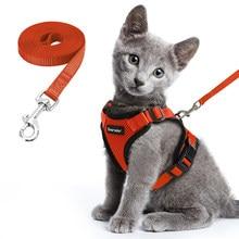 Conjunto de arnés y correa de gato para caminar arnés de perro pequeño con tiras reflectantes de malla de nailon ropa de Mascota para cachorro gatito collares