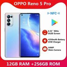 Oppo-teléfono inteligente Reno 5 Pro, Original, 12GB de RAM, 256GB de ROM, 5G, batería de 4350mAh, cámara de 6400MP, 65W, súper cargador, 6,55 pulgadas