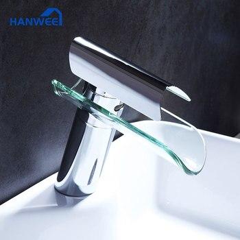 цена на Hanwee Bathroom Faucet waterfall Chrome Brass Bathroom Basin Sink Waterfall Tap Mixer Tap Mixer Faucet torneira