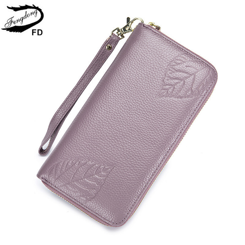 Fengdong Genuine Leather Wallet For Women Clutch Phone Wallet Long Purse For Girls Gift Anti Rfid Credit Card Holder Money Bag