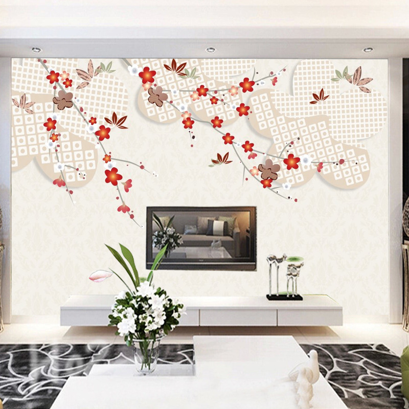 Customizable 3D Modern Minimalist Living Room Bedroom TV Backdrop Wall Television Wall Mural Wallpaper Non-woven Wallpaper Wall