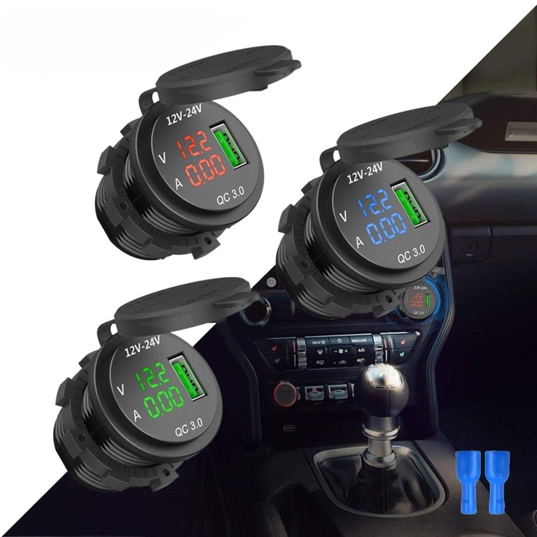 3.0 USB 2V/24V 4.2A Dual USB Motorcycle Car Charger Socket Adapter Outlet LED Voltmeter Ammeter For Mobile Phone iPhone Samsung