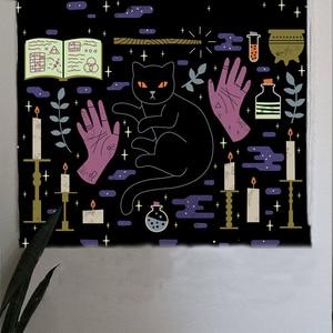 Image 4 - Loartee เวทมนตร์ Ouija Cat Tapestry Psychic Magic โหราศาสตร์การ์ตูน Bohemian Hippie Divination บ้านแขวนผนังผ้าห่ม